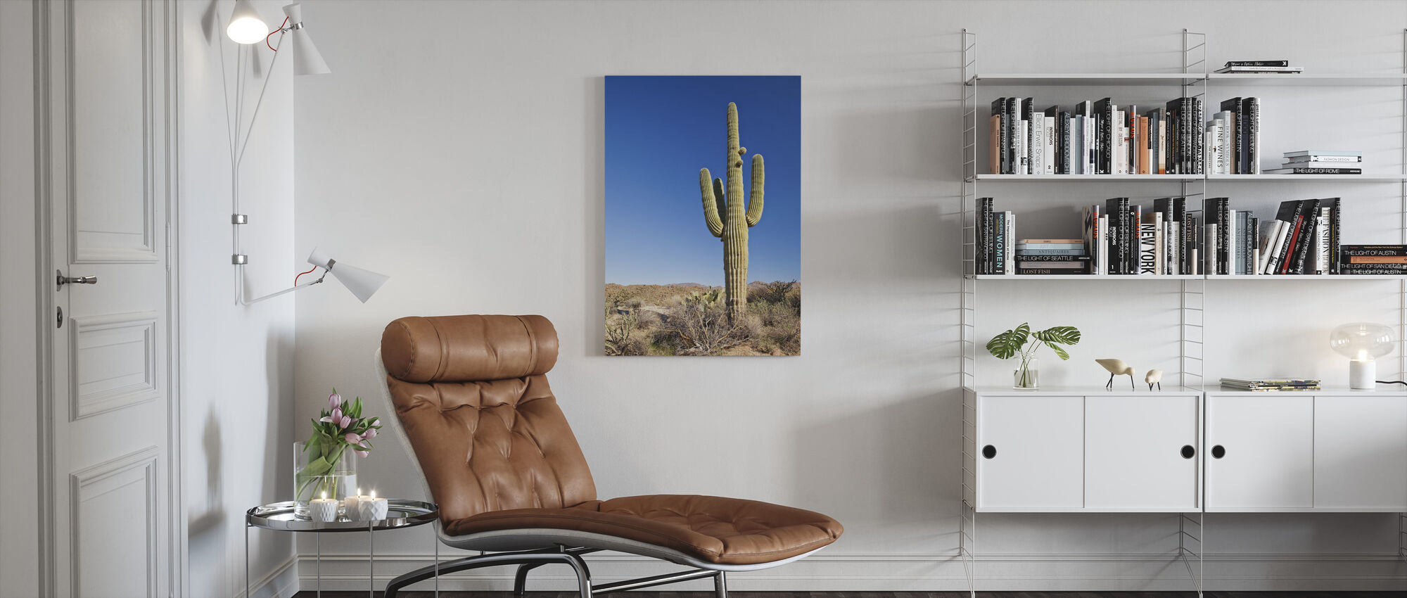 Saguaro Cactus in woestijn - Canvas print - Woonkamer