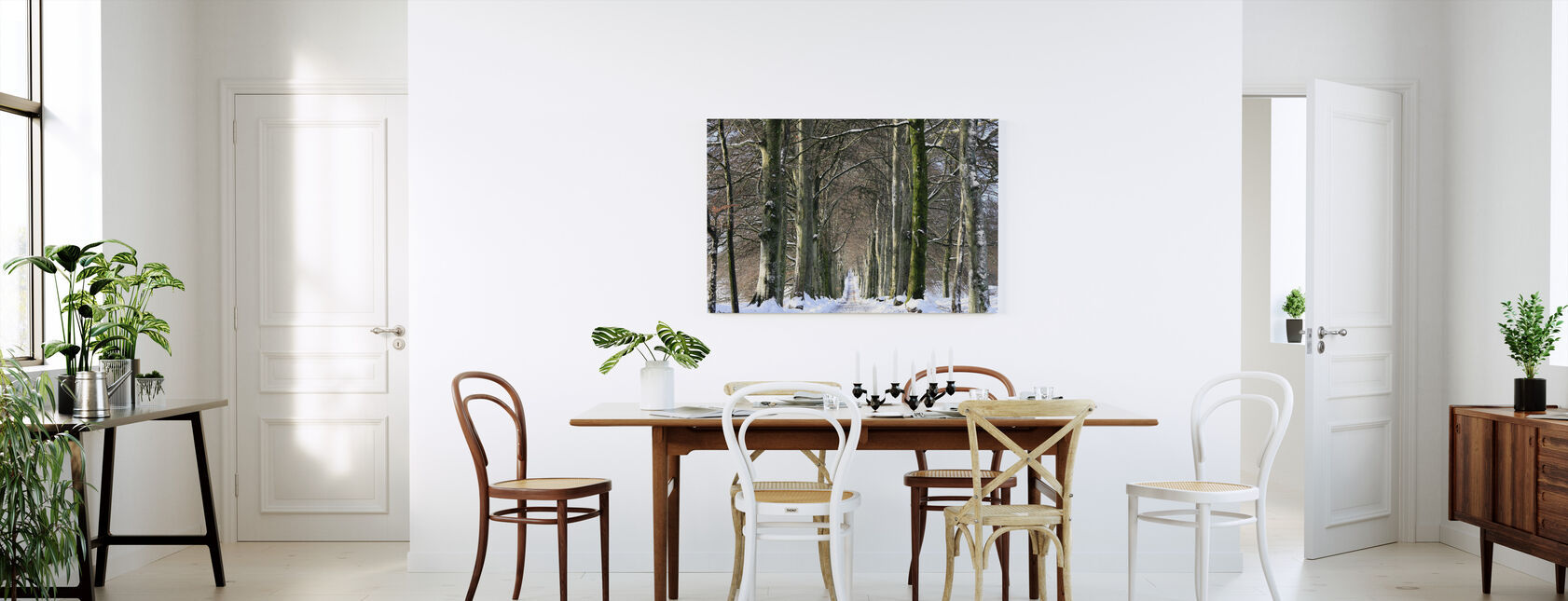 Snowy Tree-lined Avenue - Canvas print - Kitchen