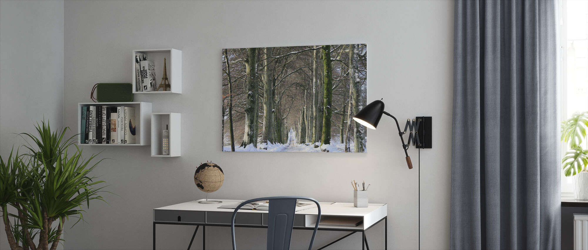 Snowy Tree-lined Avenue - Canvas print - Office