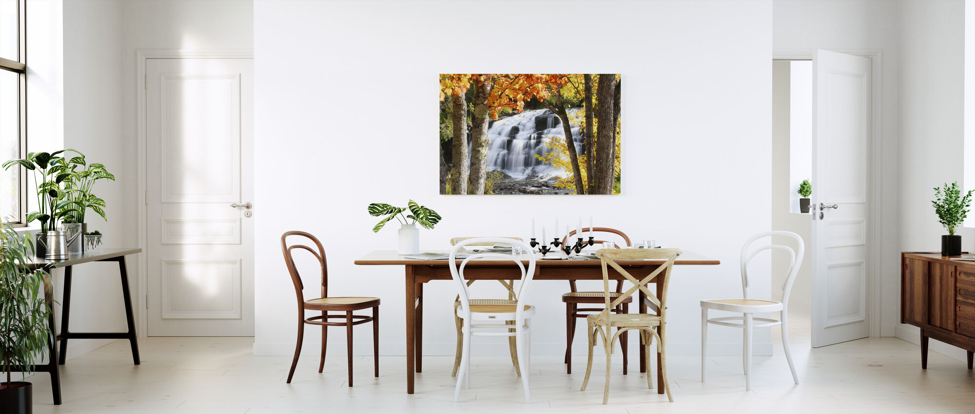Bond Falls klædt i efteråret farver - Billede på lærred - Køkken