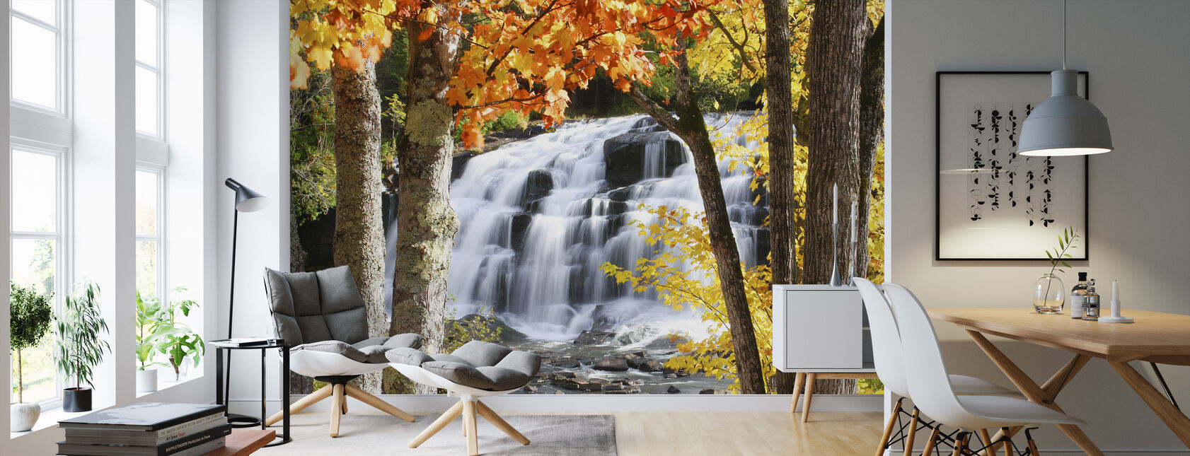 Bond Falls dressed in Autumn colors - Wallpaper - Living Room