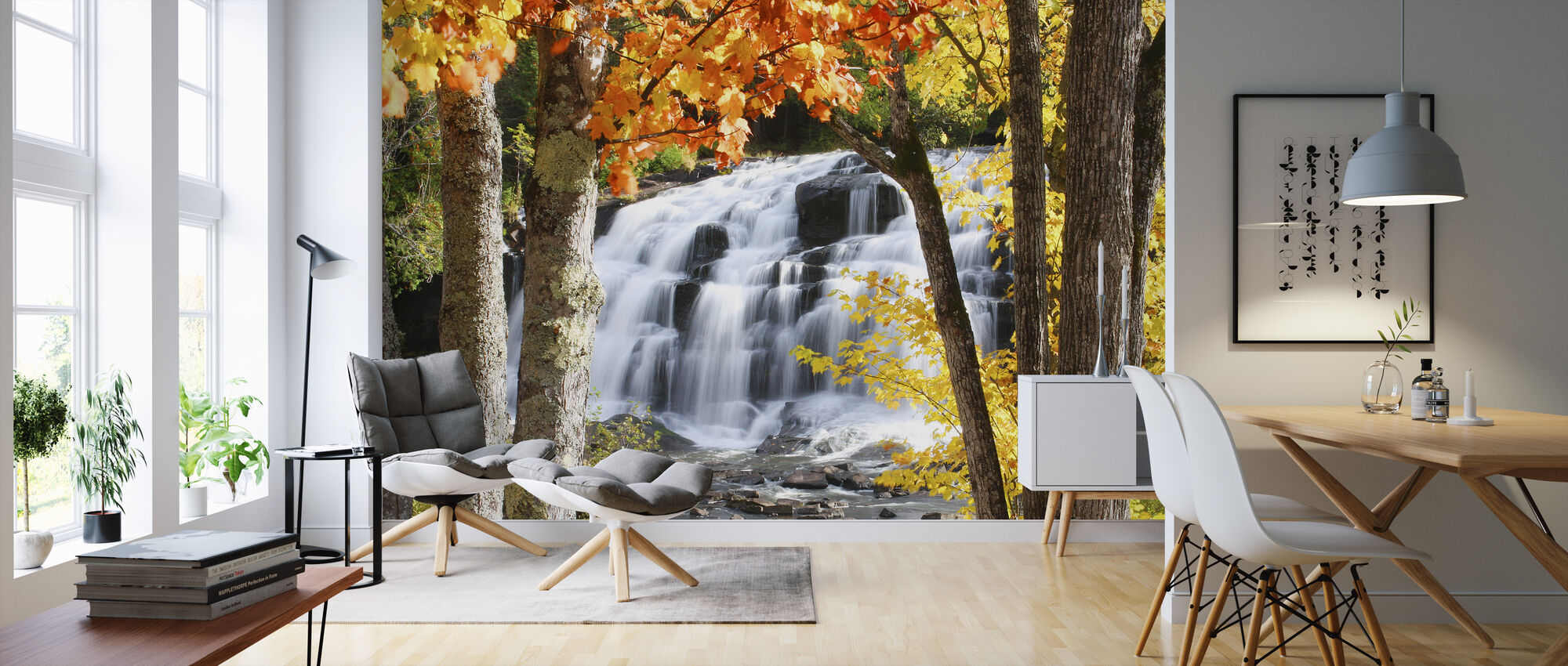 Bond Falls dressed in Autumn colors - Wallpaper - Living Room