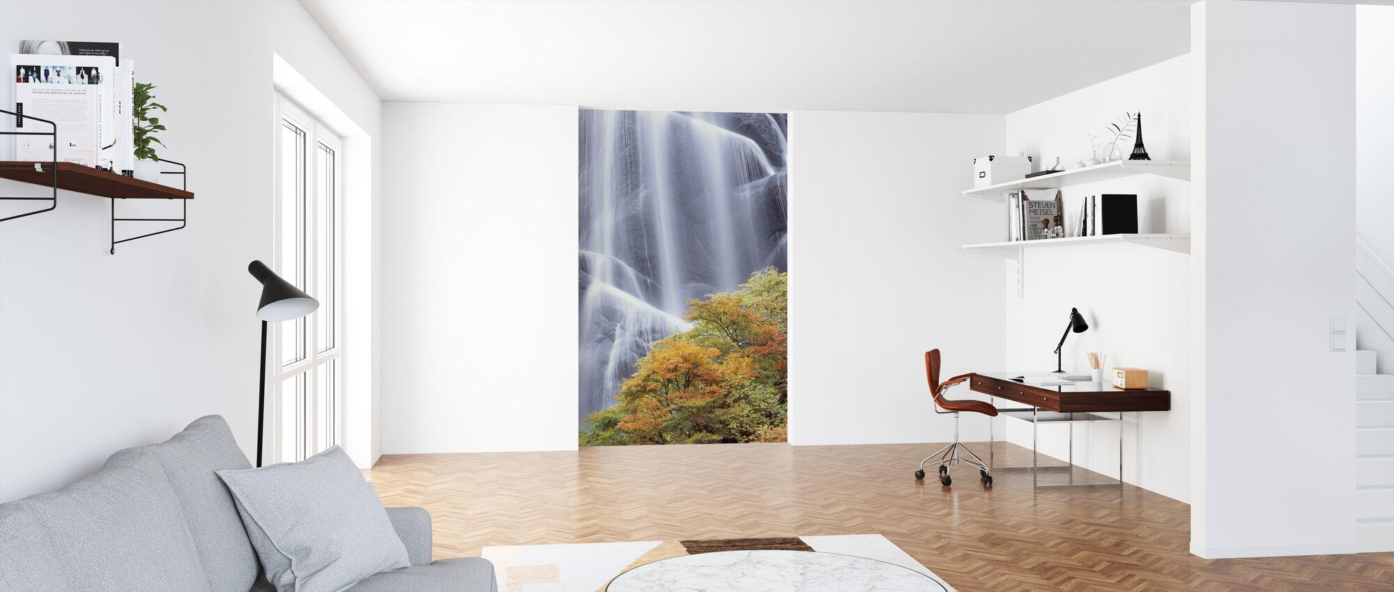 Japanese Waterfall in Autumn Dress - Wallpaper - Office