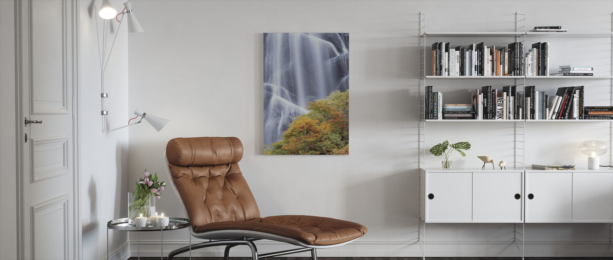Japanese Waterfall in Autumn Dress - Canvas print - Living Room