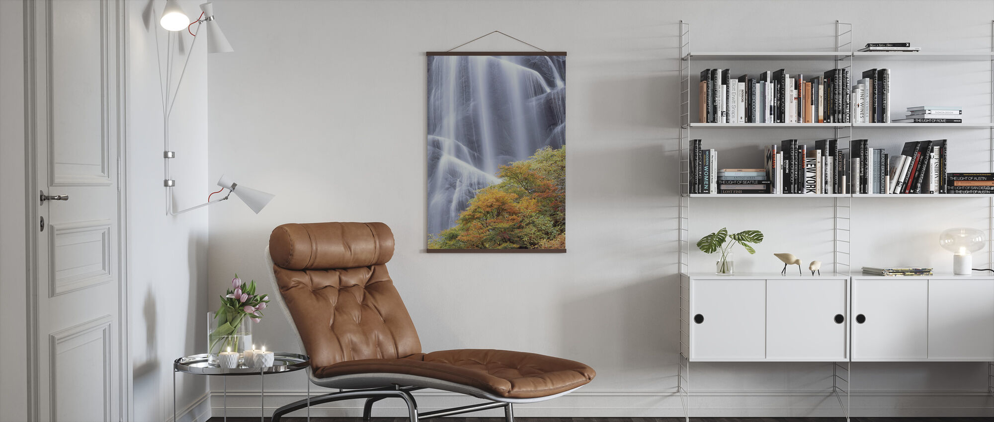 Japanese Waterfall in Autumn Dress - Poster - Living Room