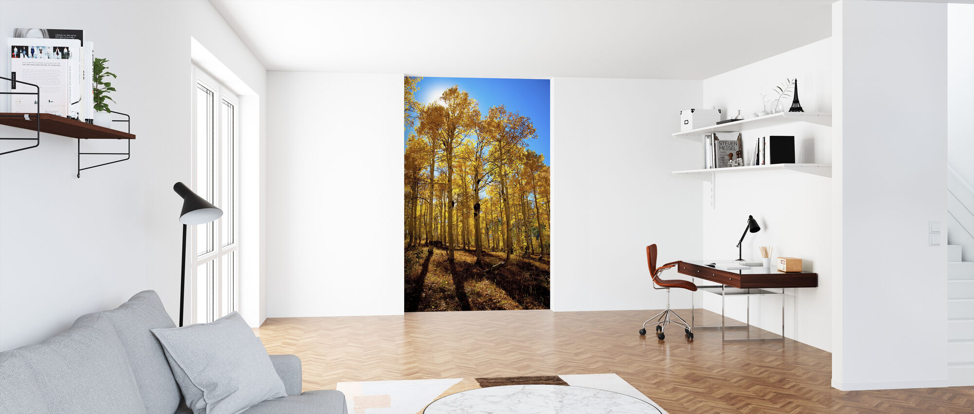 Aspen Trees and Blue Sky - Wallpaper - Office