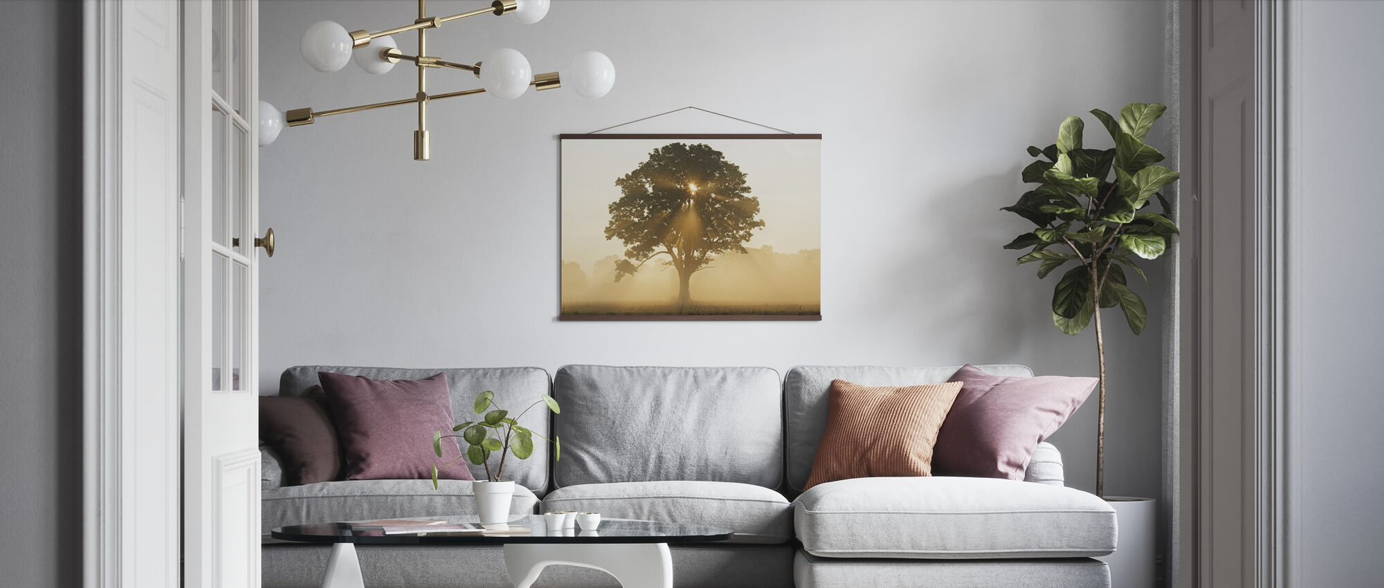 Oak Tree with Sun Rays - Poster - Living Room