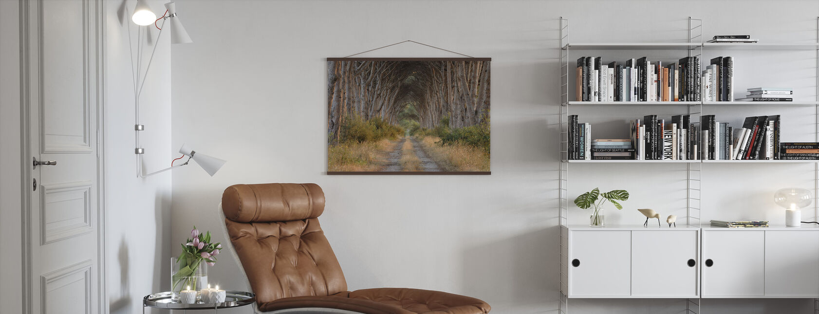 Track lined with Pine Trees - Poster - Living Room