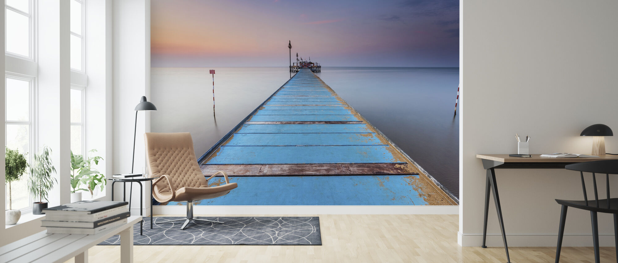 Blue Wooden Pier - Wallpaper - Living Room
