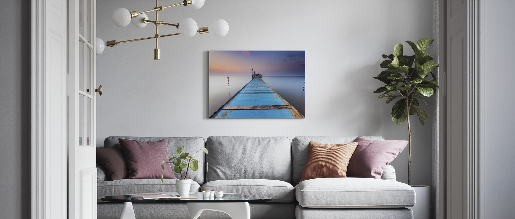 Sininen puinen laituri - Canvastaulu - Olohuone