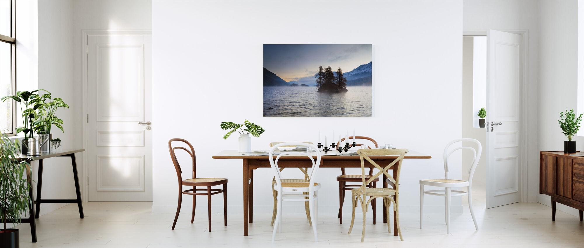 Island in Lake Sils - Canvas print - Kitchen