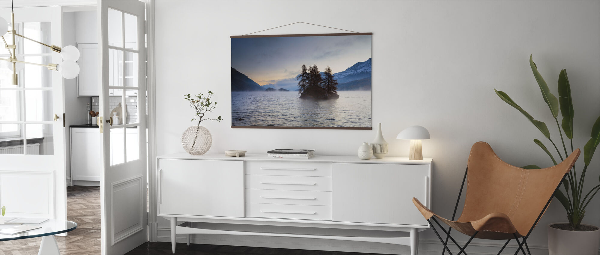Island in Lake Sils - Poster - Living Room