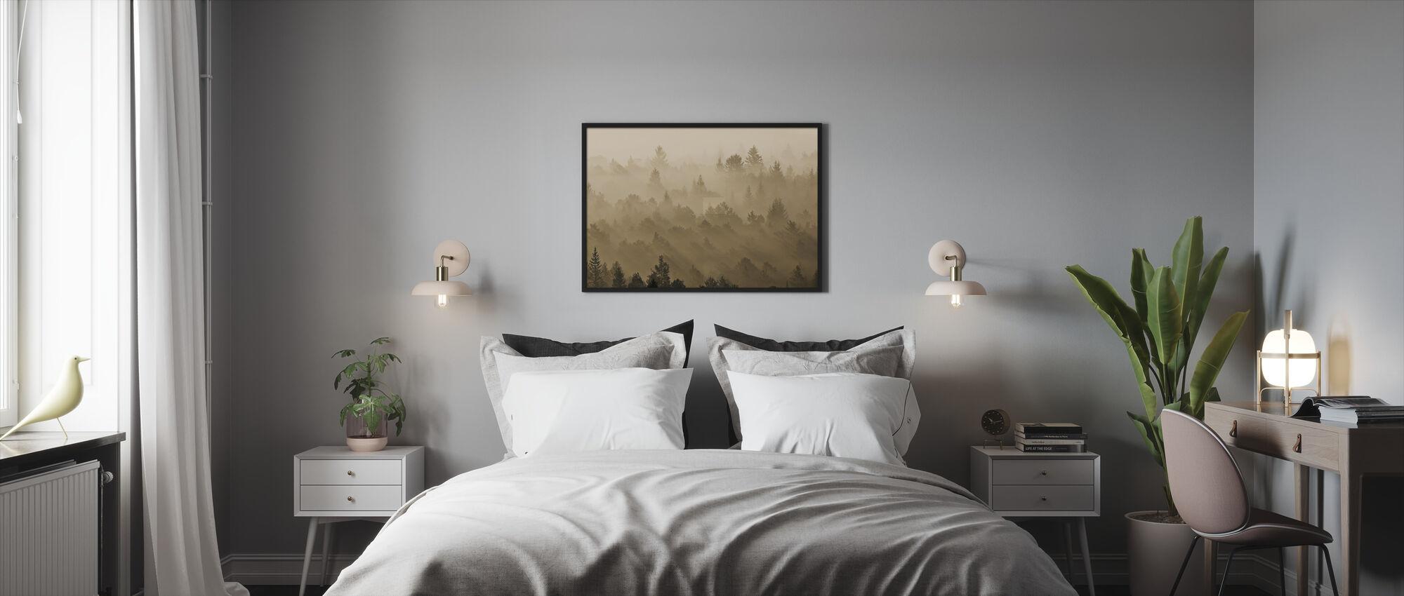 Morning Mist in Isar Valley - Framed print - Bedroom