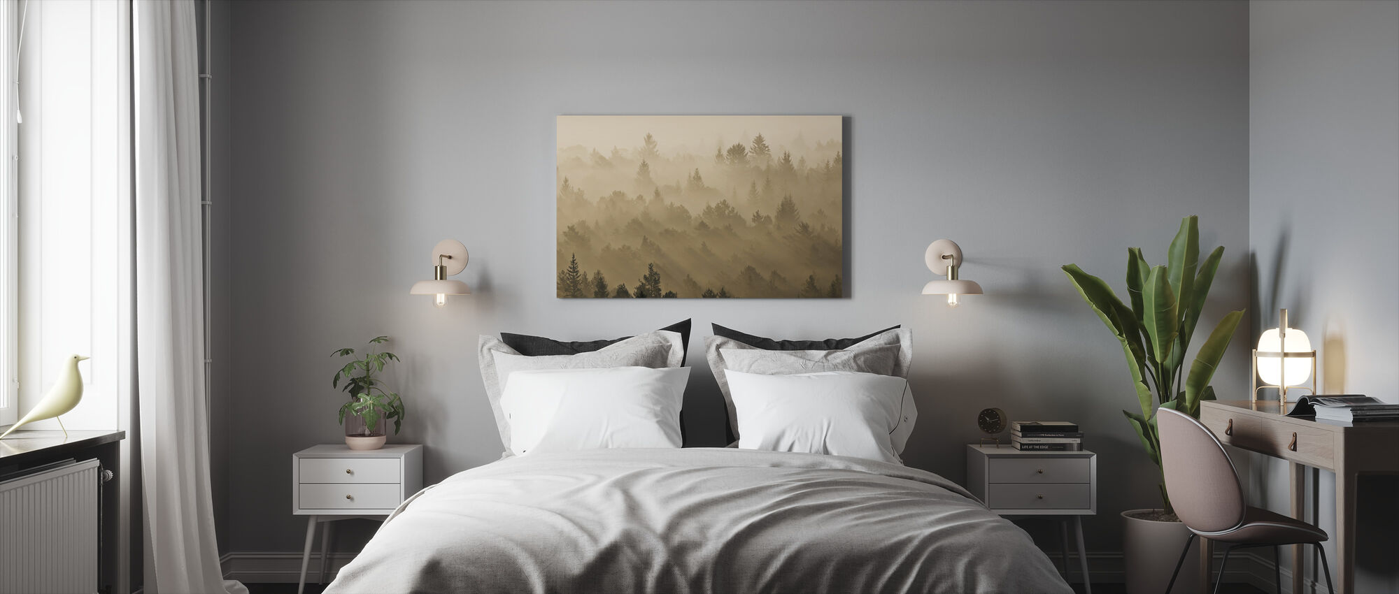 Morning Mist in Isar Valley - Canvas print - Bedroom