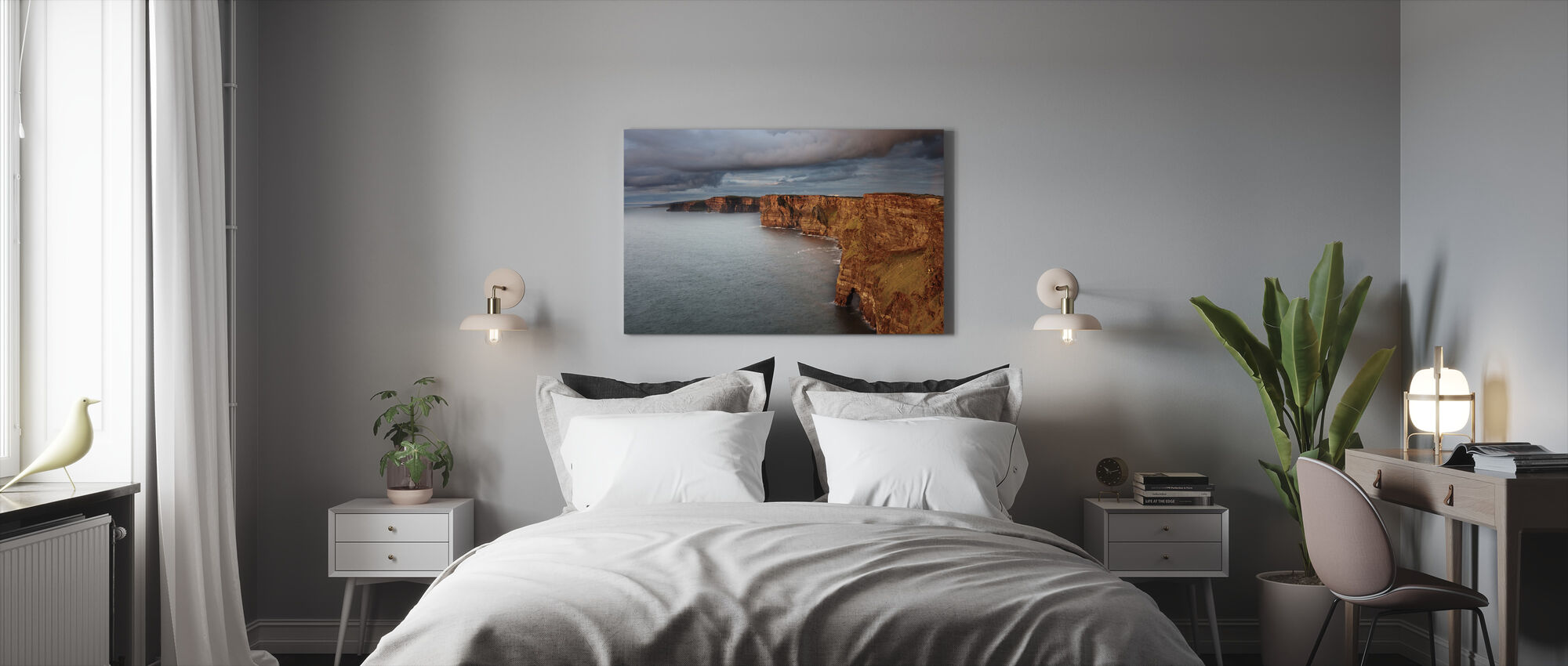 Waves up on Rocky Cliffs - Canvas print - Bedroom