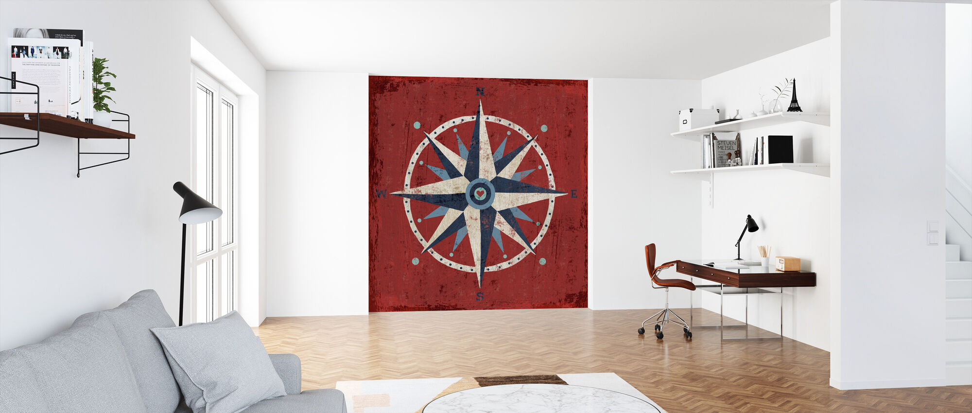 Nautical Love Compass - Wallpaper - Office