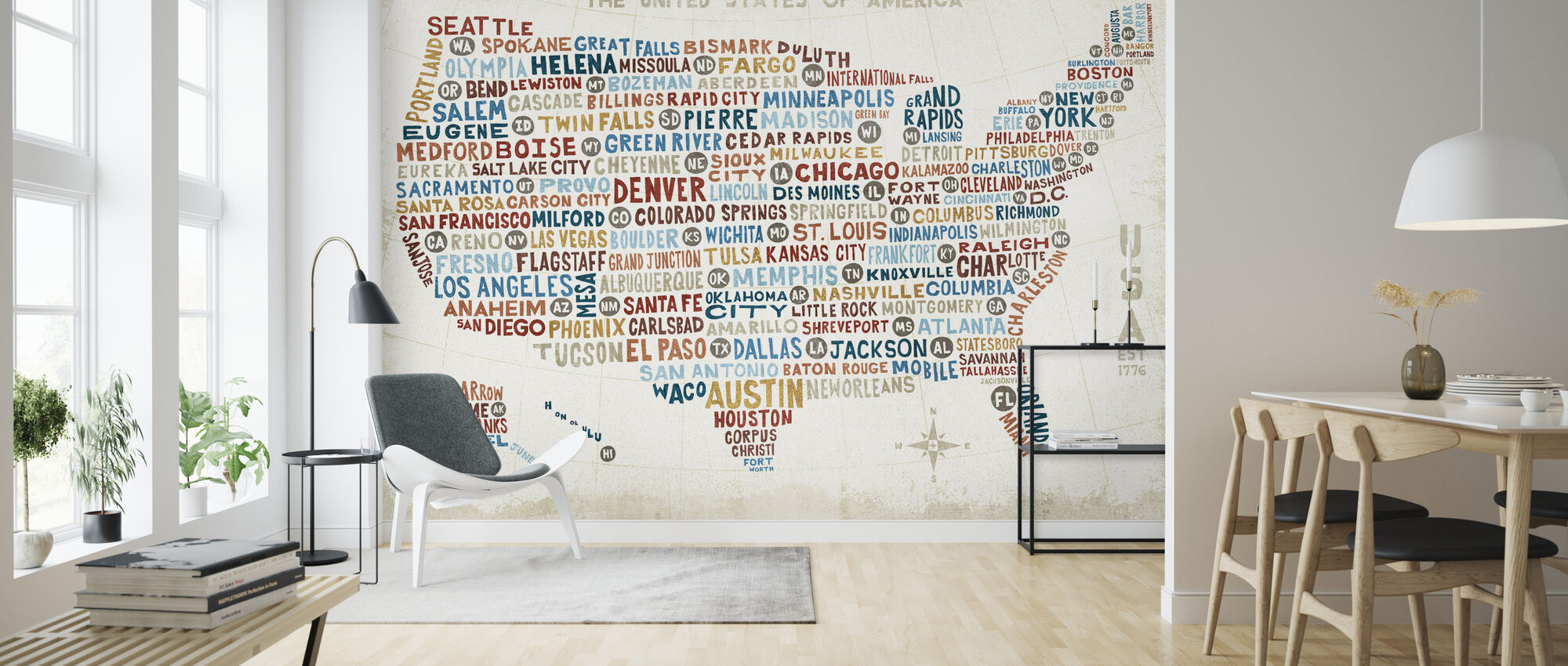 US City Map - Wallpaper - Living Room