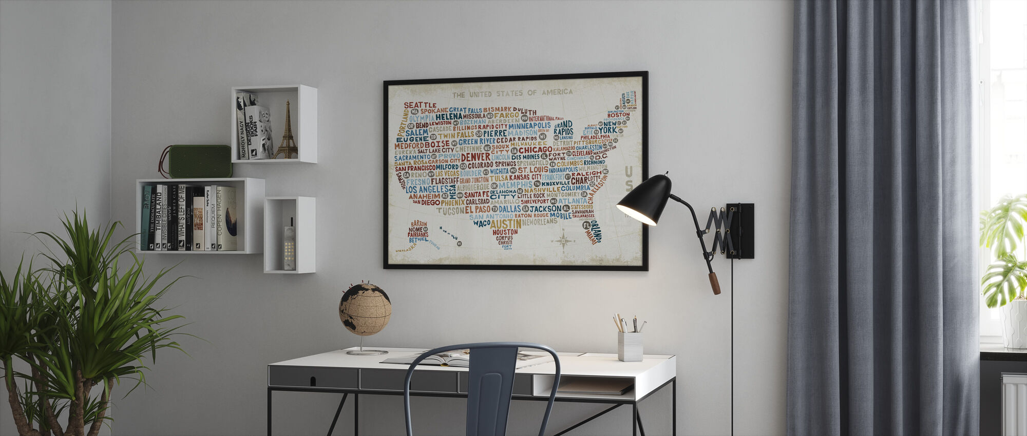 US City Map - Framed print - Office