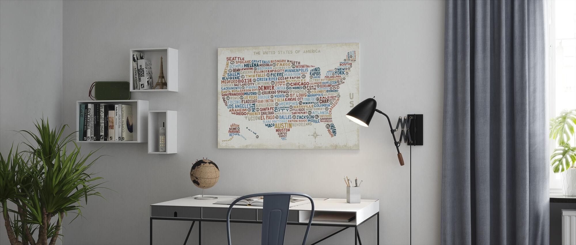 US City Kartta - Canvastaulu - Toimisto