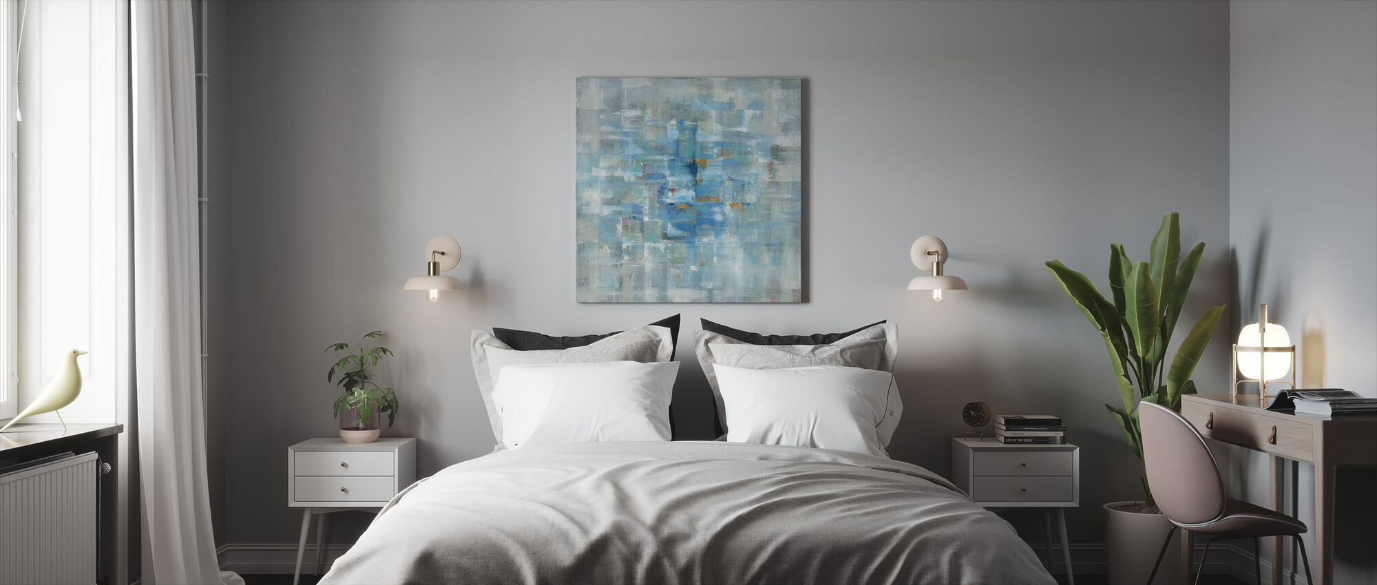 Abstrakti neliöt - Canvastaulu - Makuuhuone
