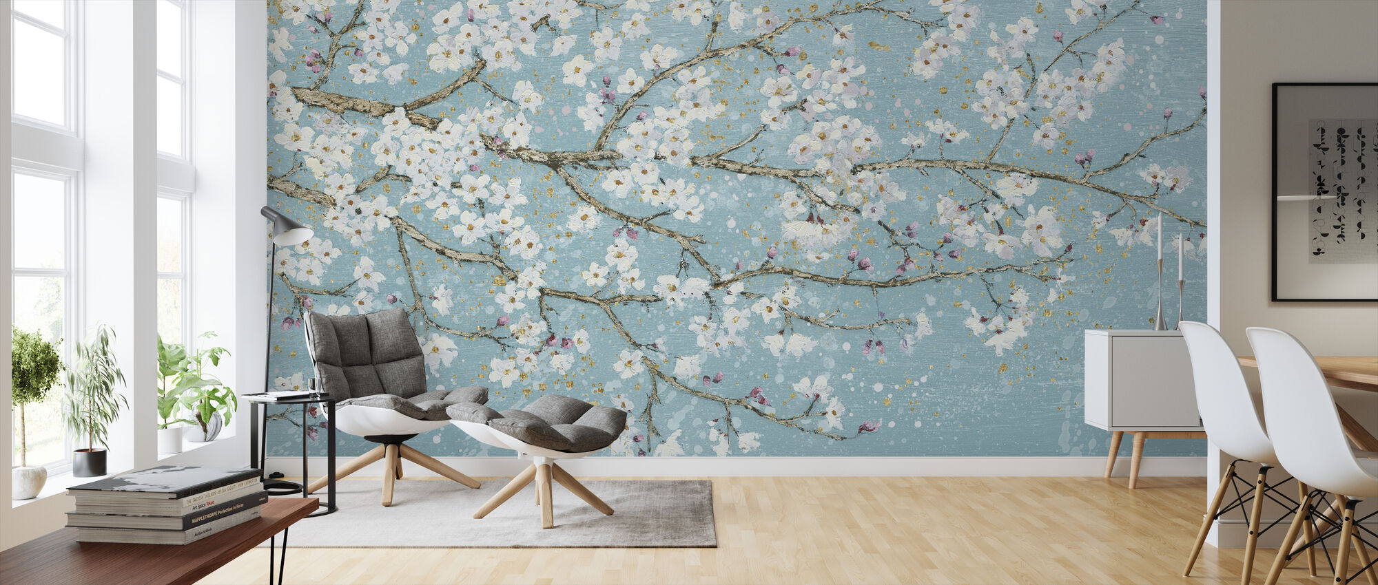 April Breeze I Teal - Wallpaper - Living Room