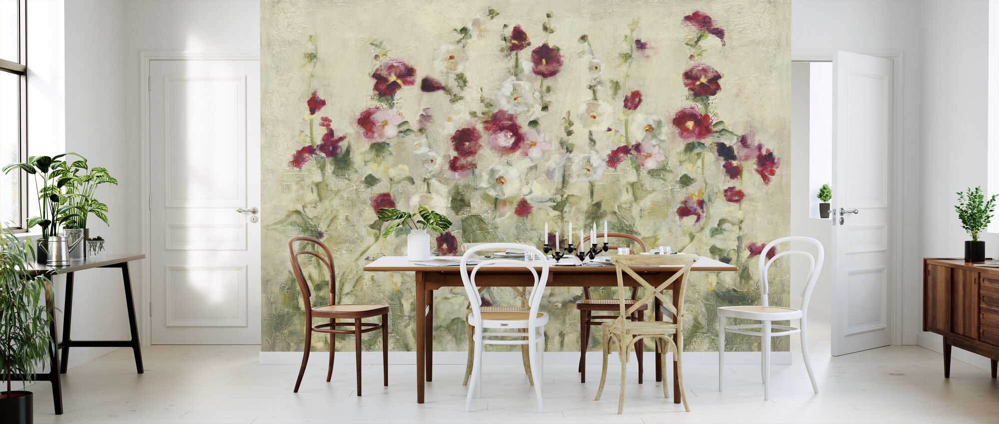 Hollyhocks Row Cool - Wallpaper - Kitchen