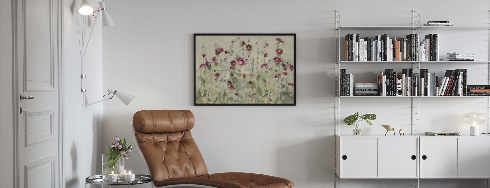 Hollyhocks Row Cool - Inramad tavla - Vardagsrum