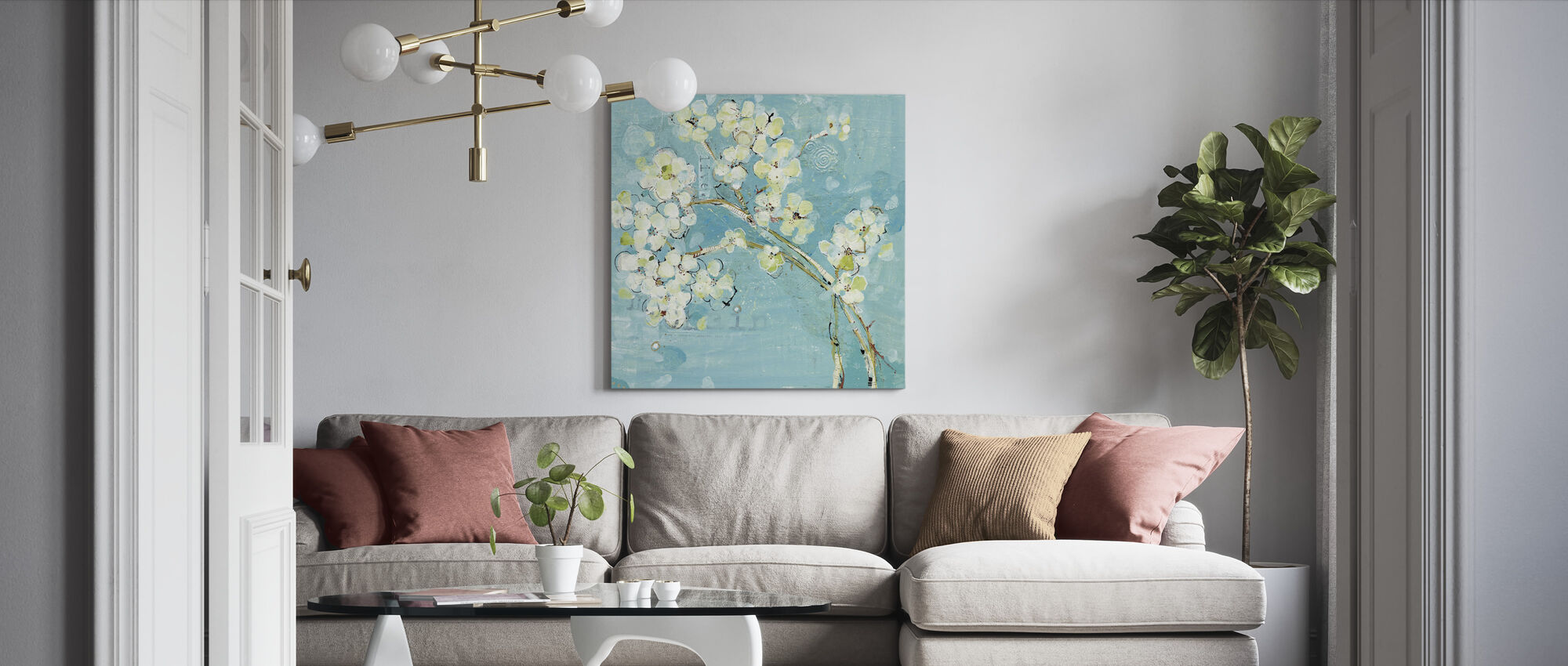 Live Turkoois - Canvas print - Woonkamer