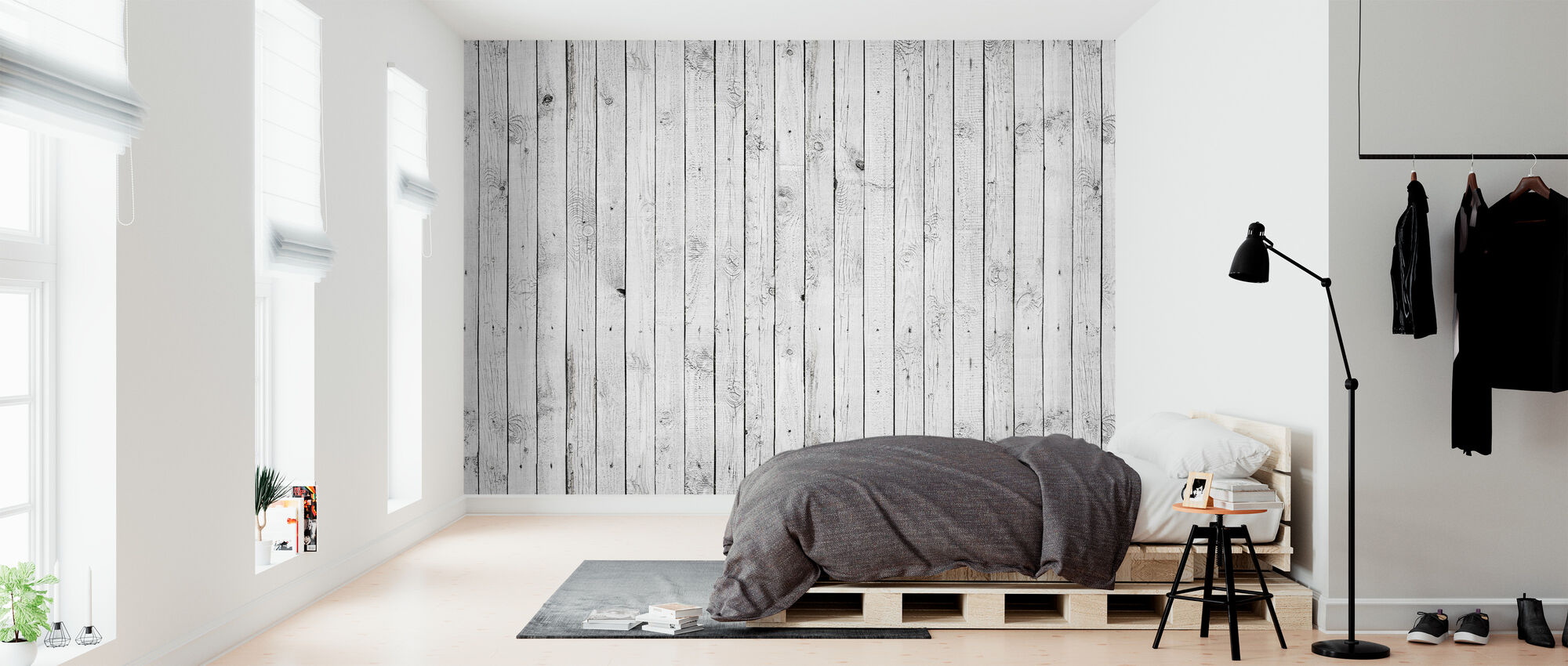 White Painted Wood High Quality Personalised Wallpaper
