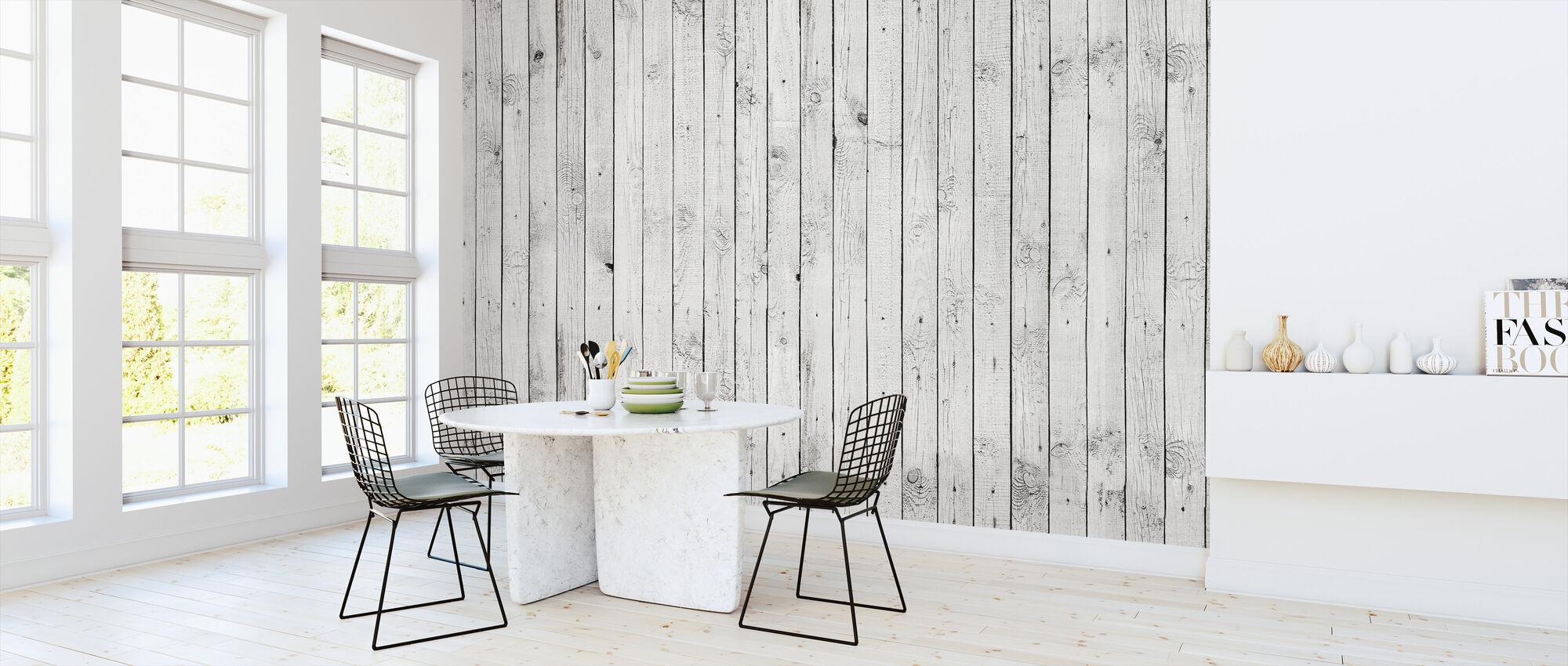 Vitt målat trä - Tapet - Kök