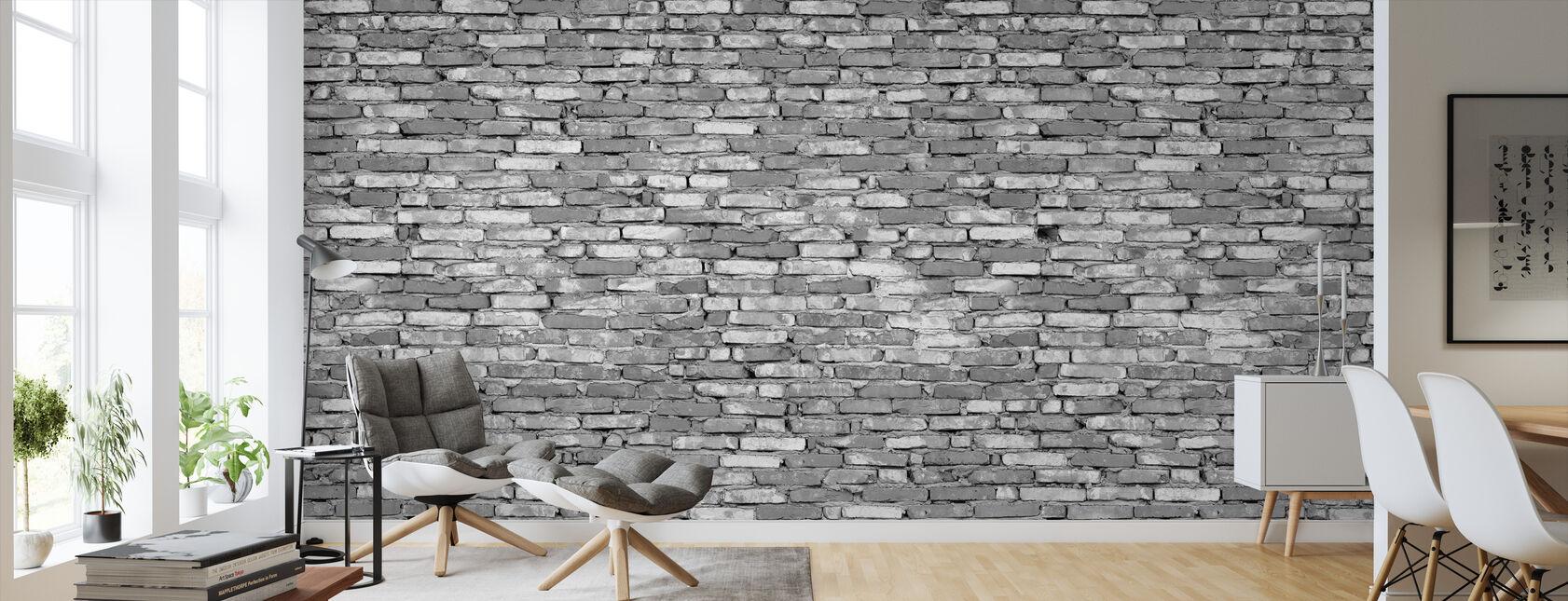 Stary mur z cegły - szary - Tapeta - Pokój dzienny