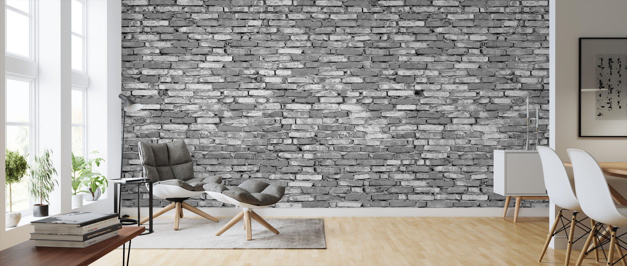 Old Brick Wall - Grey - Wallpaper - Living Room