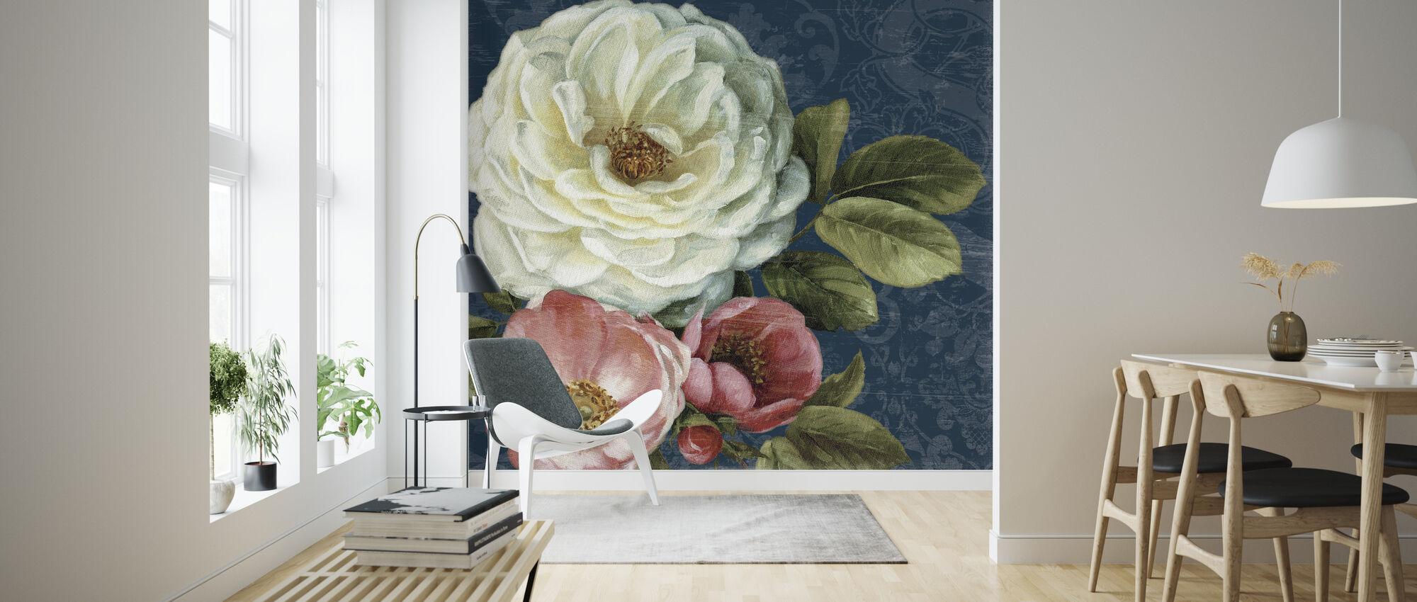 Floral Damask on Indigo - Wallpaper - Living Room