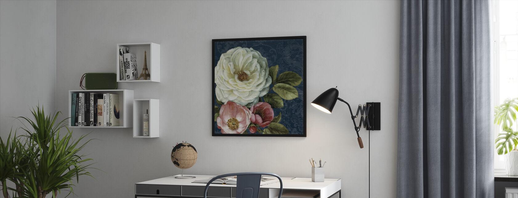 Floral Damask on Indigo - Framed print - Office