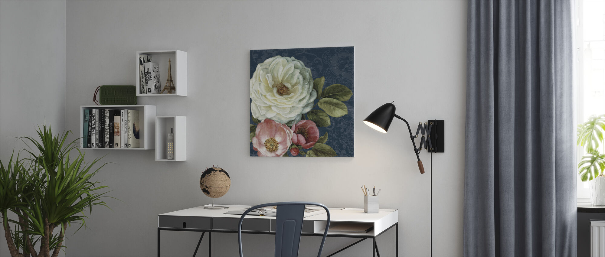 Floral Damask on Indigo - Canvas print - Office