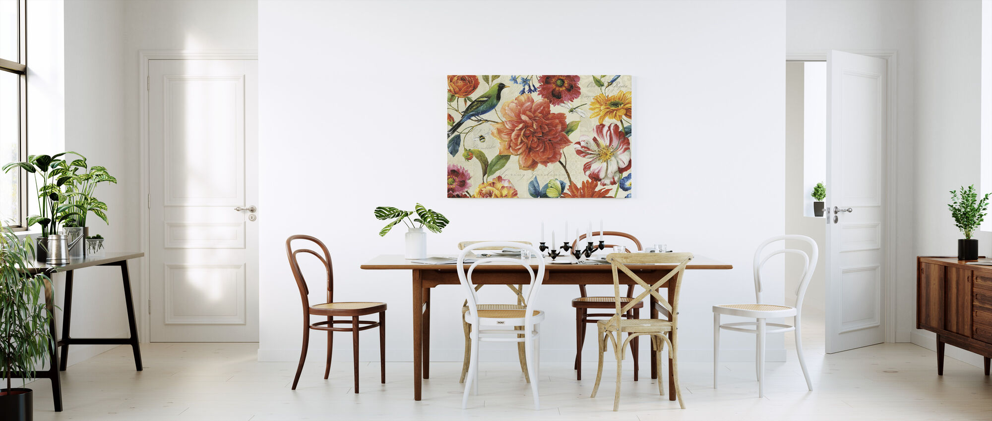 Regenboog Tuin Crème - Canvas print - Keuken