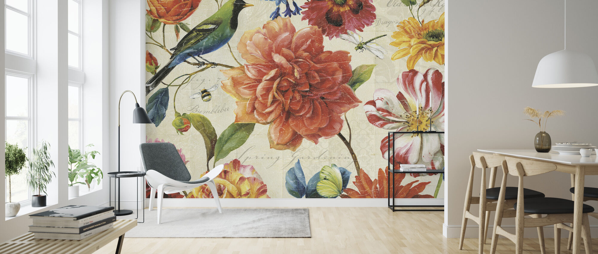 Rainbow Garden Cream - Wallpaper - Living Room