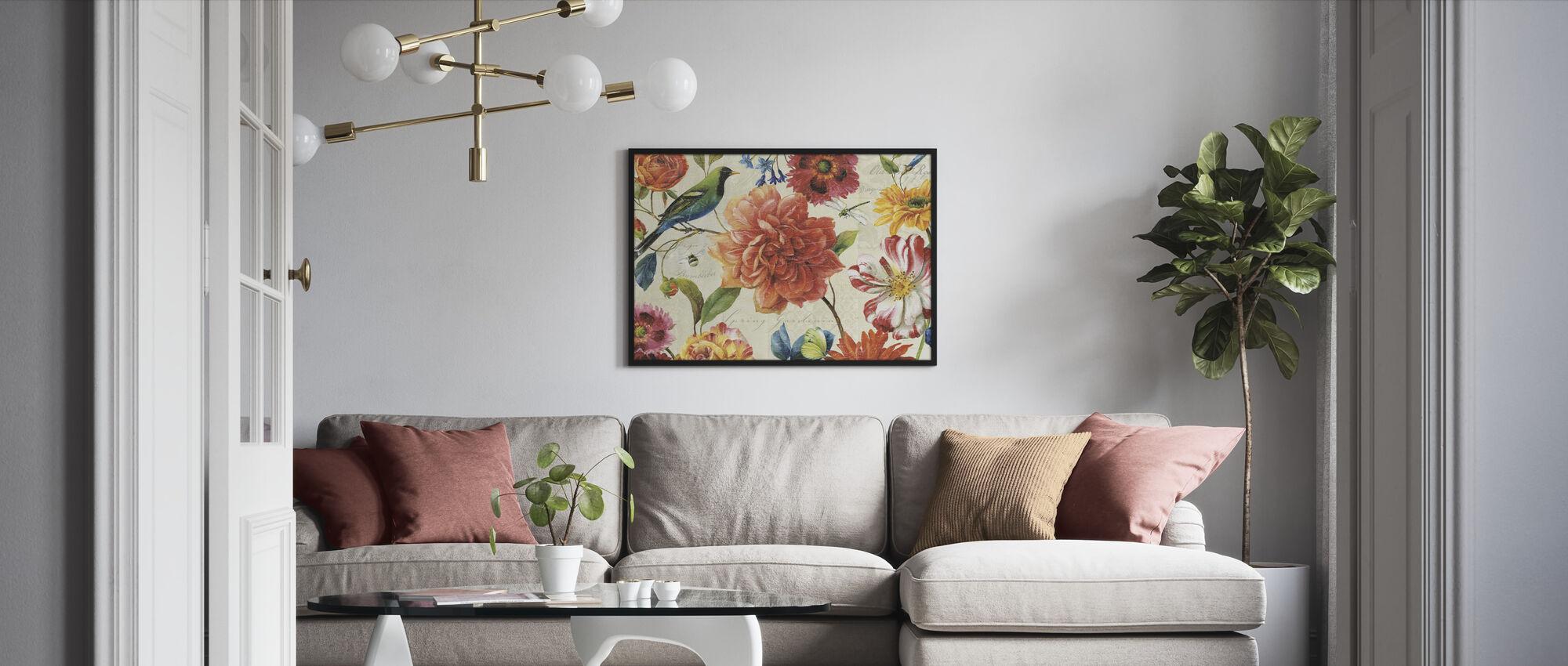 Regenboog Tuin Crème - Ingelijste print - Woonkamer