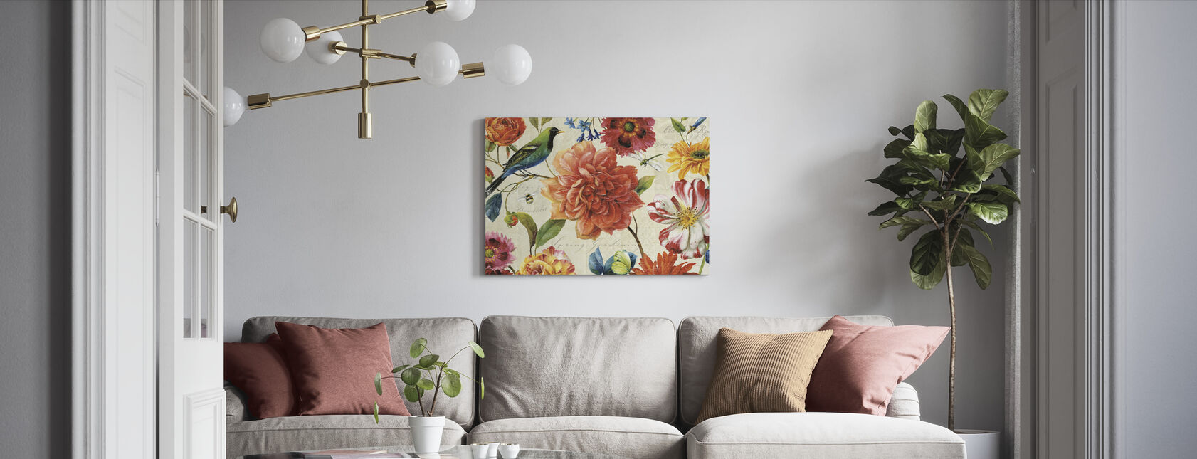Regenboog Tuin Crème - Canvas print - Woonkamer