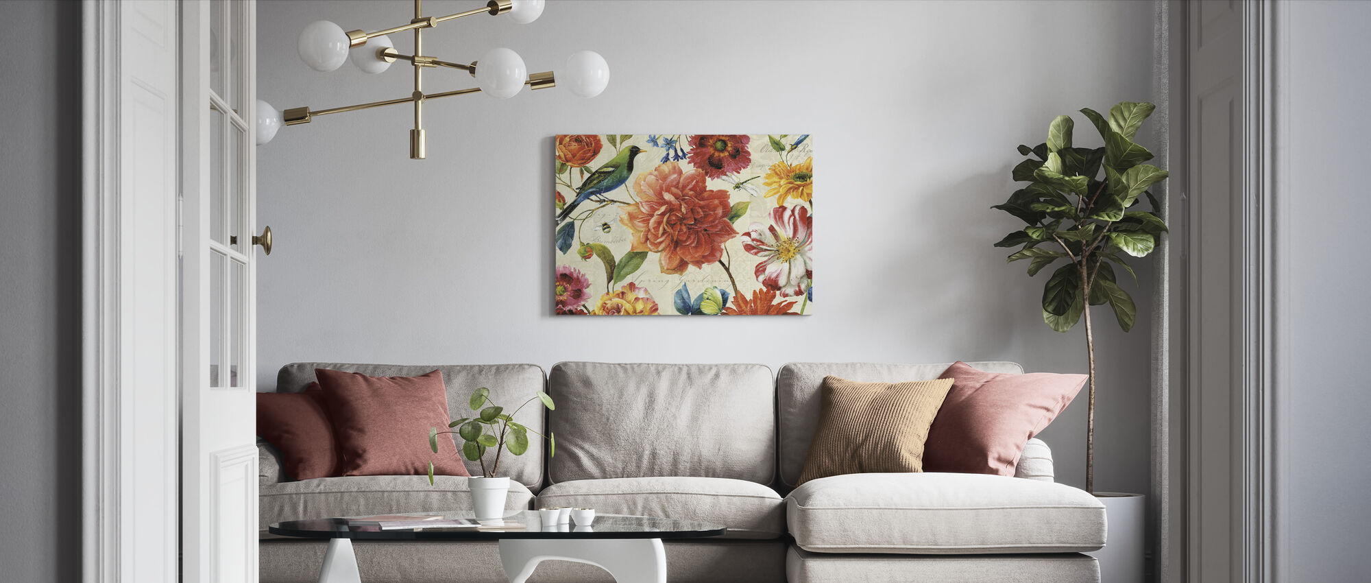 Rainbow Garden Cream - Canvas print - Living Room