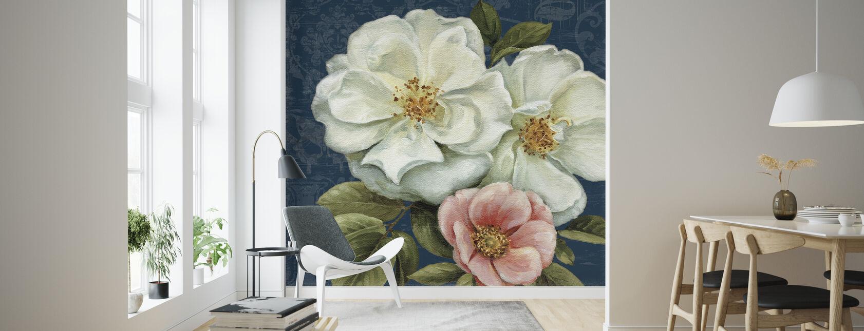 Floral Damask on Indigo 2 - Wallpaper - Living Room