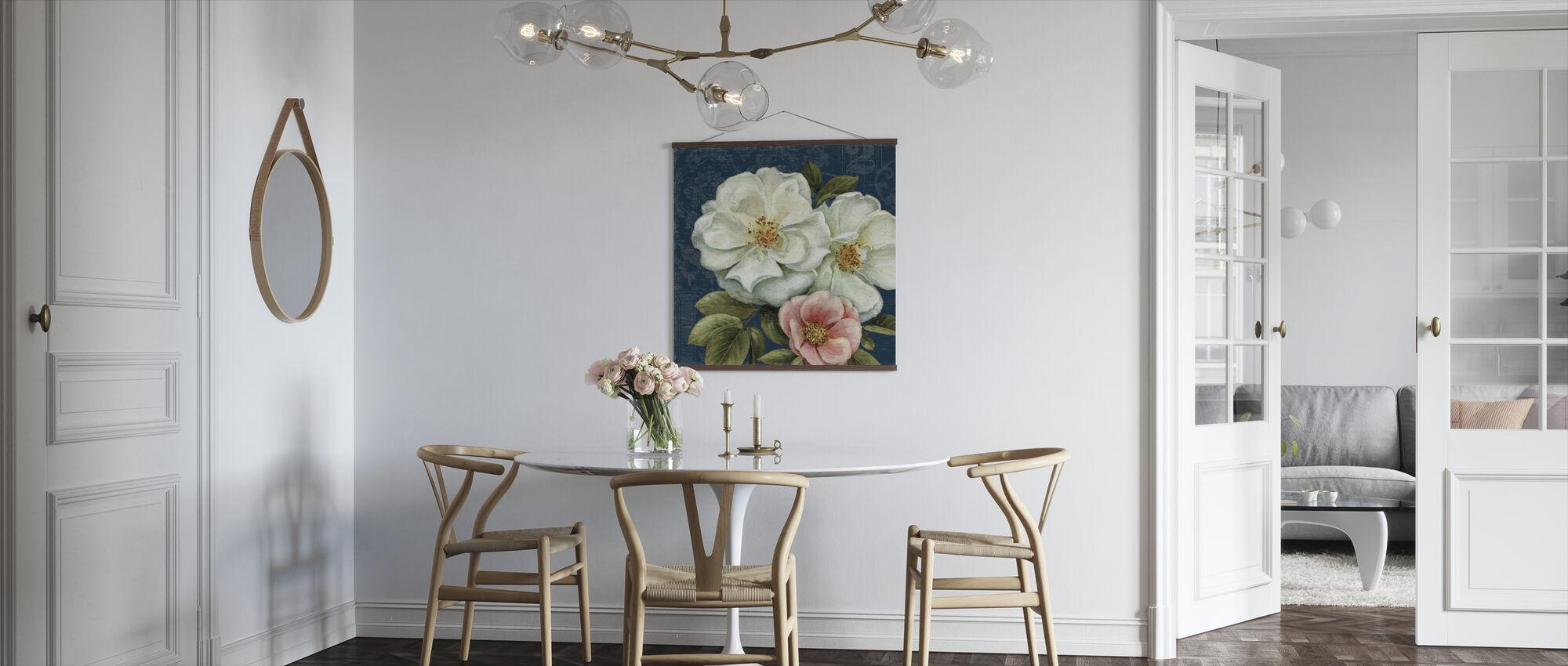 Floral Damask on Indigo 2 - Poster - Kitchen