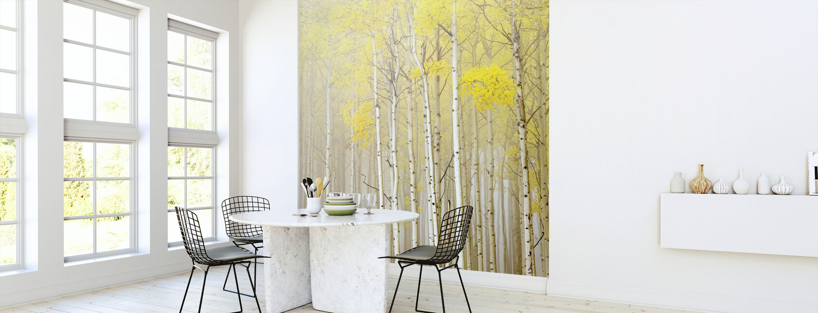 Aspens in Fog - Behang - Keuken