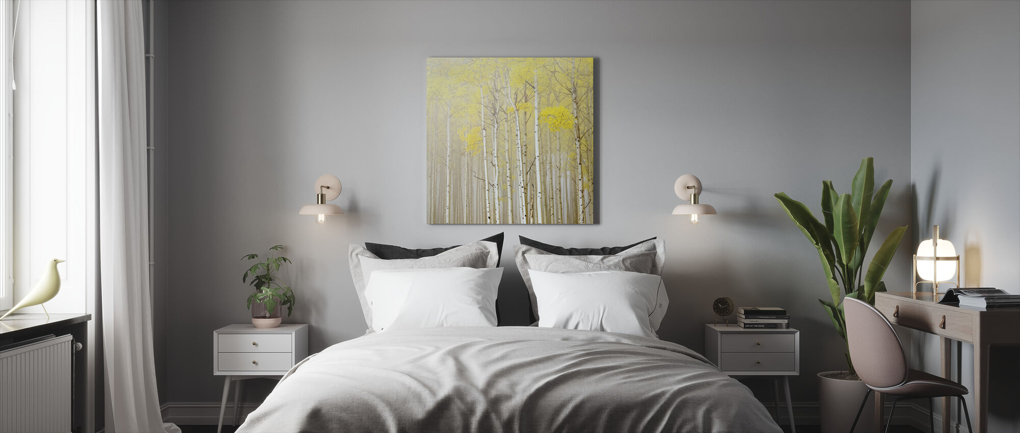 Aspens in Fog - Canvas print - Bedroom