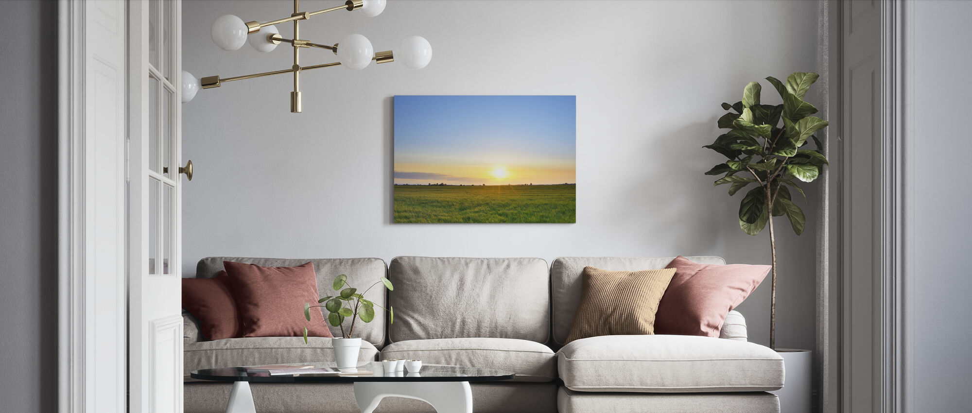Niitty Sunset - Canvastaulu - Olohuone