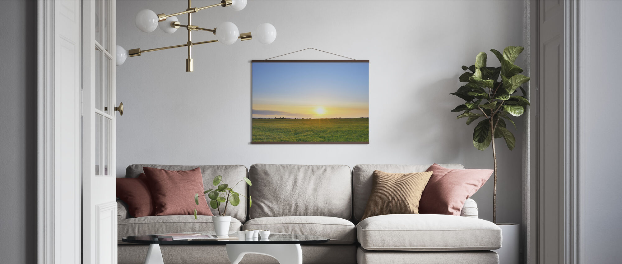 Meadow at Sunset - Poster - Living Room