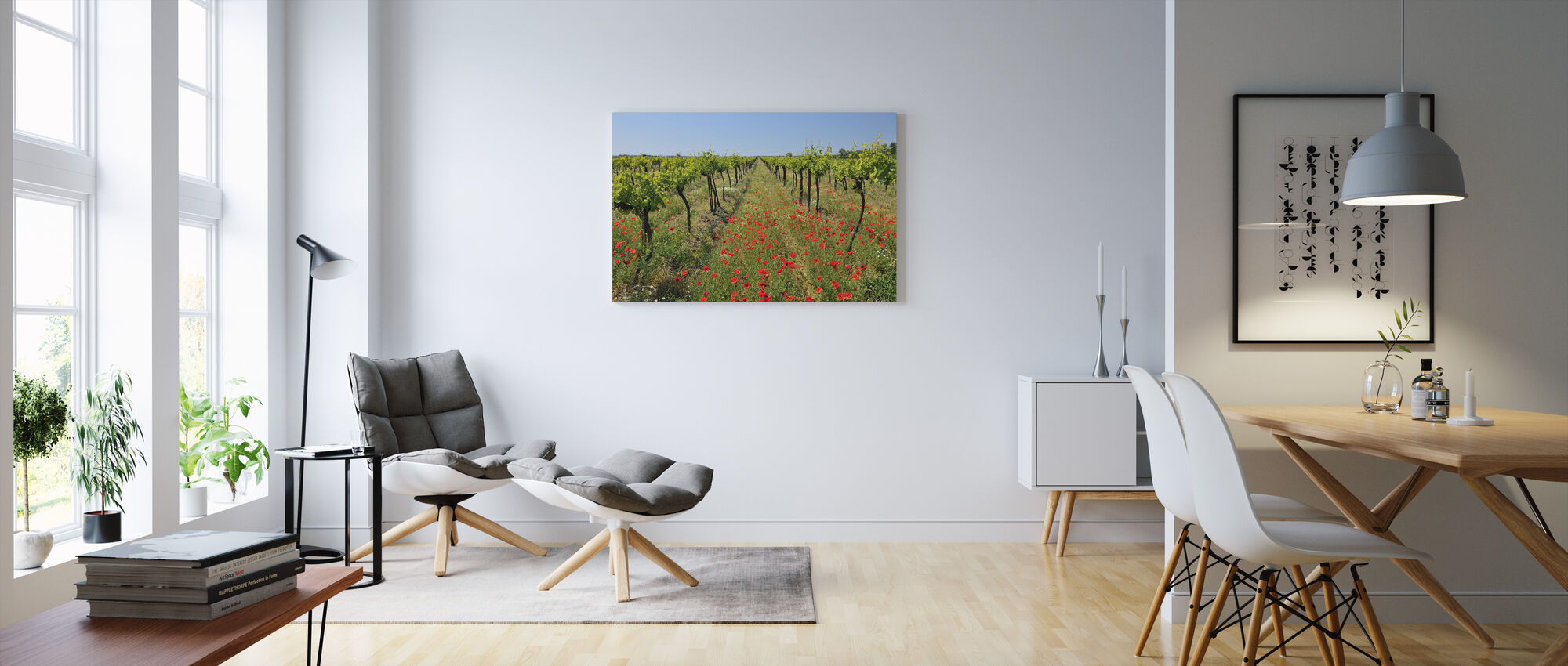 Poppies in the Vineyard - Canvas print - Living Room