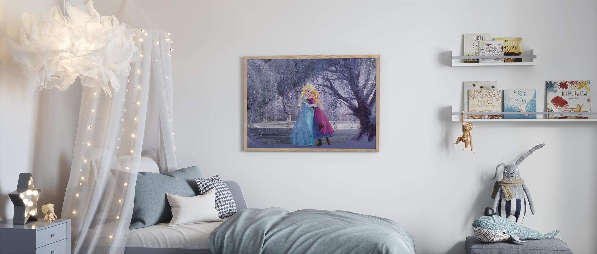 Frosset - Elsa og Anna - Innrammet bilde - Barnerom