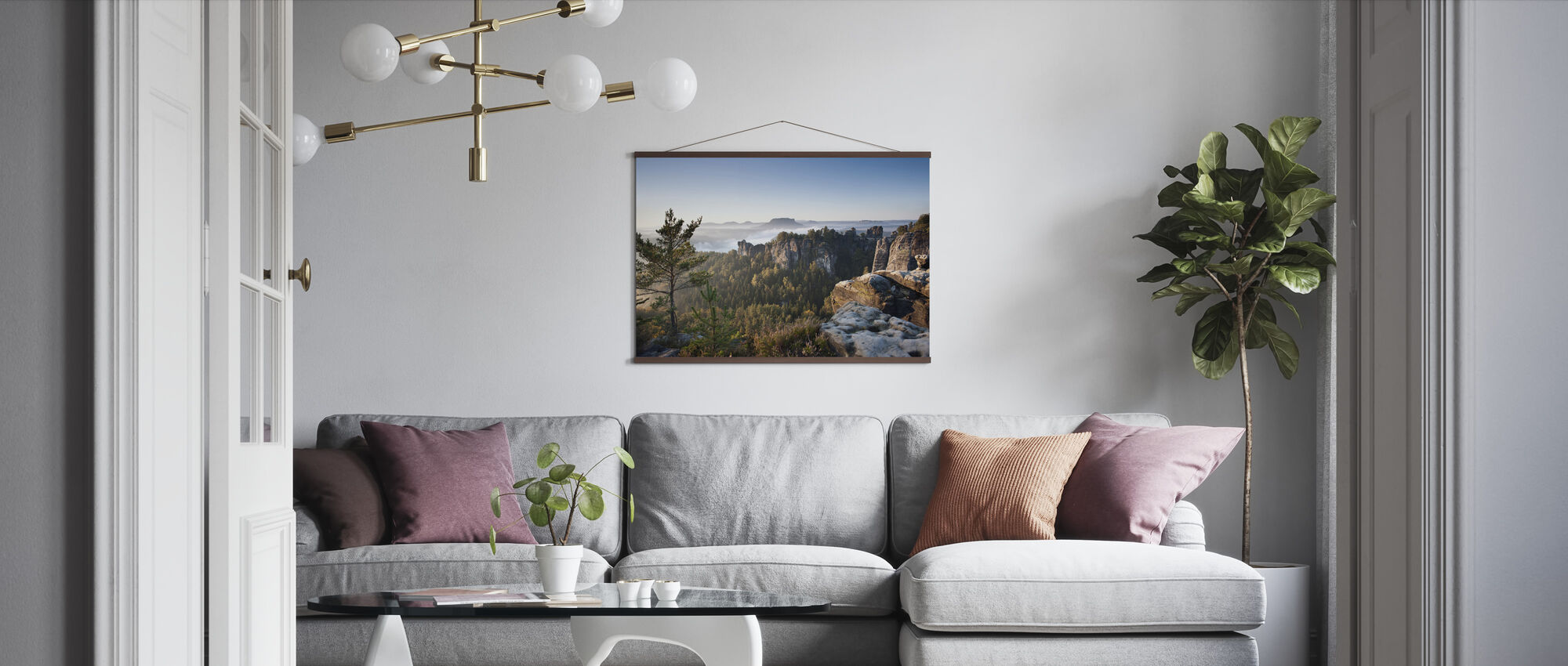 Morning at the Bastei - Poster - Living Room