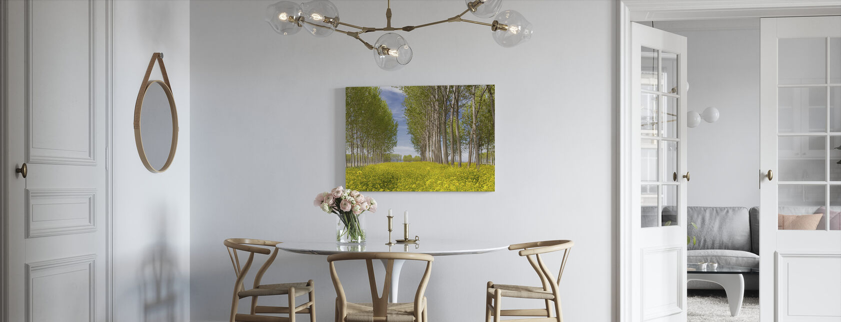 Poplars Trees in Golden Field - Canvas print - Kitchen